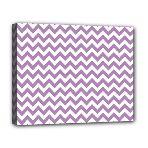 Lilac And White Zigzag Deluxe Canvas 20  x 16  (Framed)