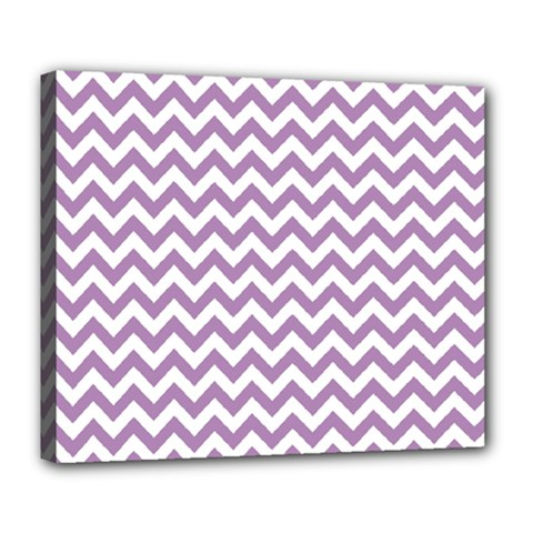 Lilac And White Zigzag Deluxe Canvas 24  x 20  (Framed)
