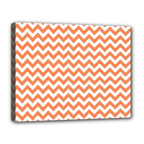 Orange And White Zigzag Canvas 14  x 11  (Framed)