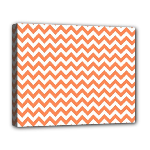 Orange And White Zigzag Deluxe Canvas 20  X 16  (framed)