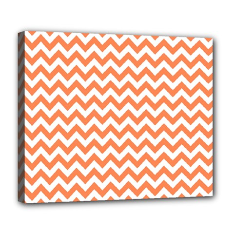 Orange And White Zigzag Deluxe Canvas 24  x 20  (Framed)