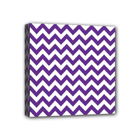 Purple And White Zigzag Pattern Mini Canvas 4  x 4  (Framed)