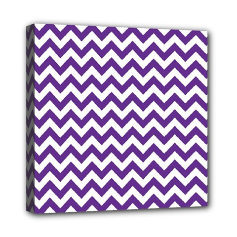Purple And White Zigzag Pattern Mini Canvas 8  x 8  (Framed)