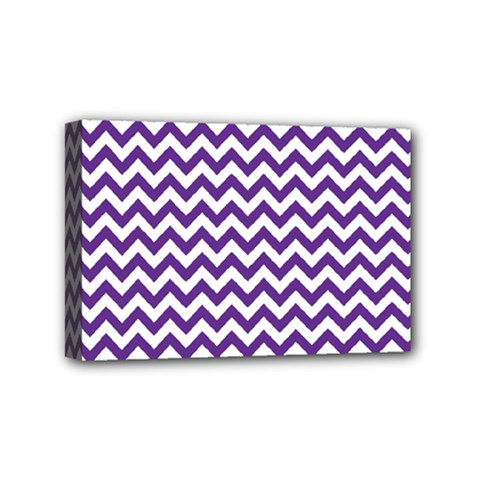 Purple And White Zigzag Pattern Mini Canvas 6  x 4  (Framed)