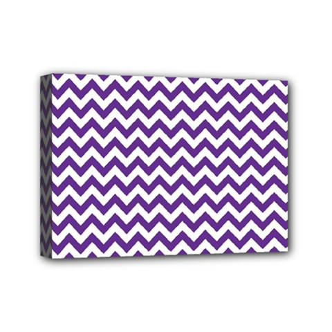 Purple And White Zigzag Pattern Mini Canvas 7  x 5  (Framed)