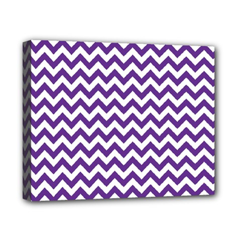 Purple And White Zigzag Pattern Canvas 10  x 8  (Framed)