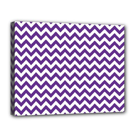 Purple And White Zigzag Pattern Canvas 14  x 11  (Framed)
