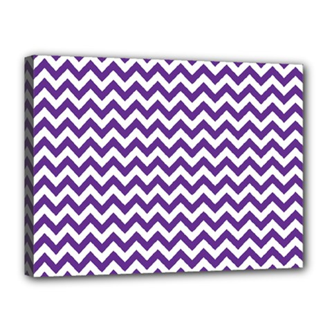 Purple And White Zigzag Pattern Canvas 16  x 12  (Framed)