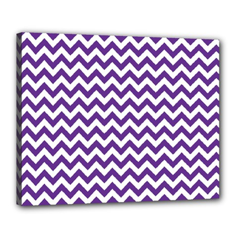 Purple And White Zigzag Pattern Canvas 20  x 16  (Framed)