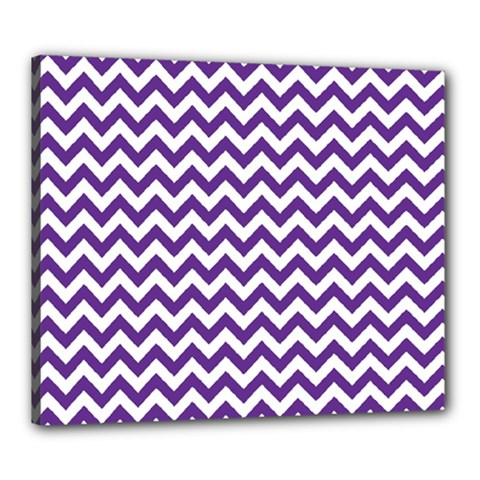 Purple And White Zigzag Pattern Canvas 24  x 20  (Framed)