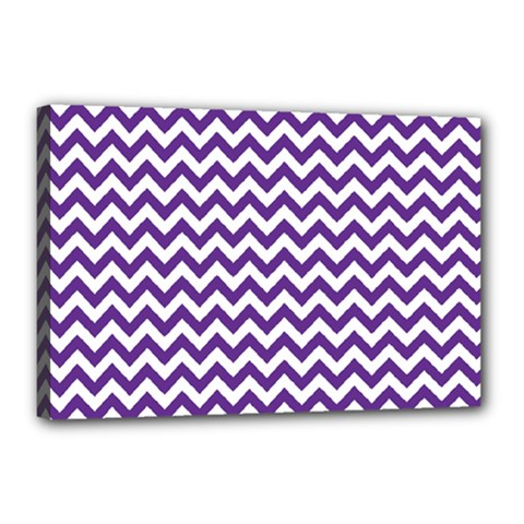 Purple And White Zigzag Pattern Canvas 18  X 12  (framed)