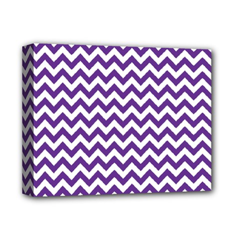 Purple And White Zigzag Pattern Deluxe Canvas 14  x 11  (Framed)