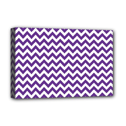 Purple And White Zigzag Pattern Deluxe Canvas 18  x 12  (Framed)