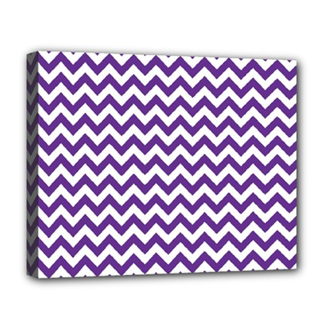 Purple And White Zigzag Pattern Deluxe Canvas 20  X 16  (framed)
