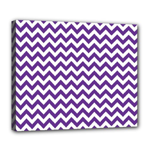 Purple And White Zigzag Pattern Deluxe Canvas 24  x 20  (Framed)