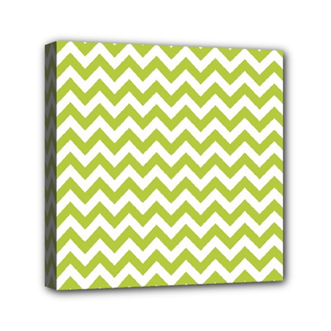 Spring Green And White Zigzag Pattern Mini Canvas 6  X 6  (framed)