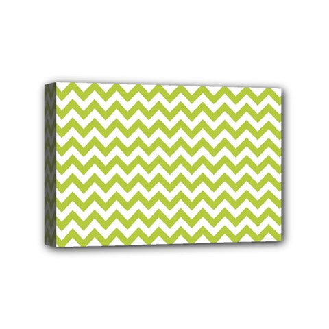 Spring Green And White Zigzag Pattern Mini Canvas 6  x 4  (Framed)