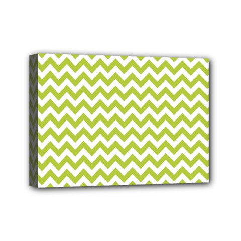Spring Green And White Zigzag Pattern Mini Canvas 7  x 5  (Framed)