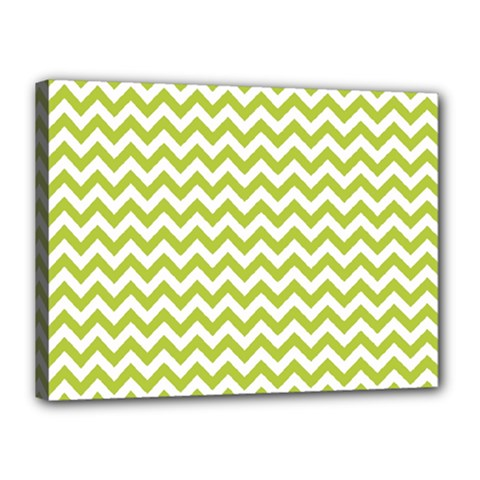 Spring Green And White Zigzag Pattern Canvas 16  x 12  (Framed)