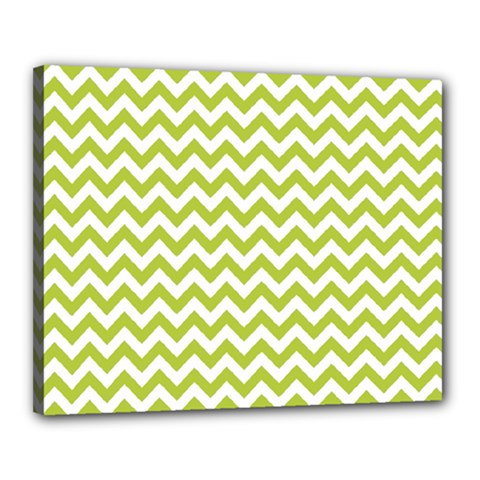Spring Green And White Zigzag Pattern Canvas 20  x 16  (Framed)