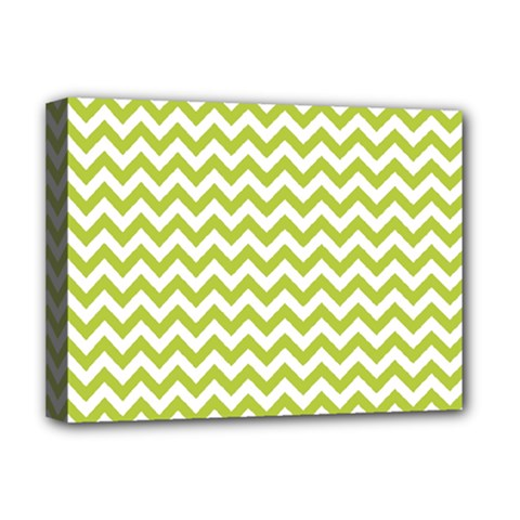Spring Green And White Zigzag Pattern Deluxe Canvas 16  x 12  (Framed)