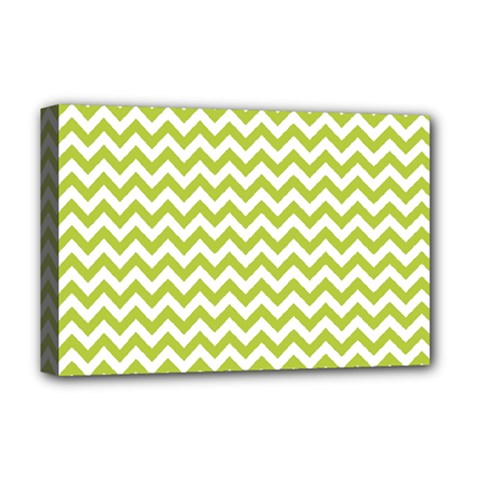 Spring Green And White Zigzag Pattern Deluxe Canvas 18  X 12  (framed)