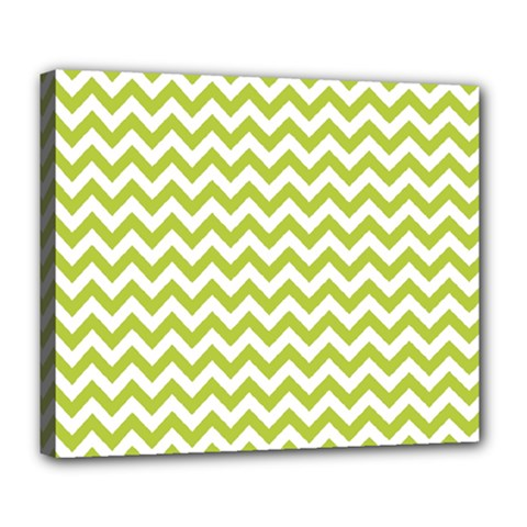 Spring Green And White Zigzag Pattern Deluxe Canvas 24  X 20  (framed)