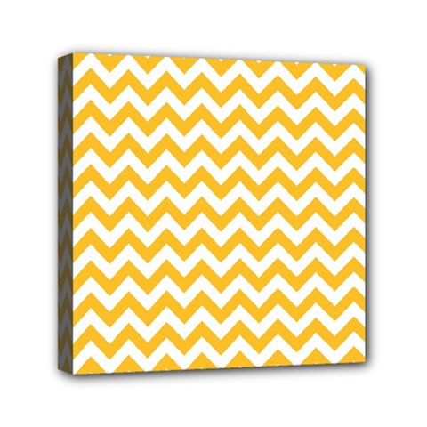 Sunny Yellow And White Zigzag Pattern Mini Canvas 6  x 6  (Framed)