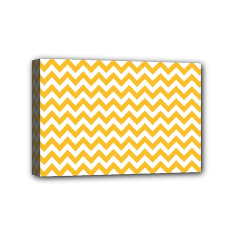Sunny Yellow And White Zigzag Pattern Mini Canvas 6  x 4  (Framed)