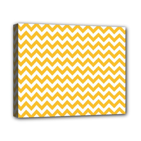 Sunny Yellow And White Zigzag Pattern Canvas 10  X 8  (framed)