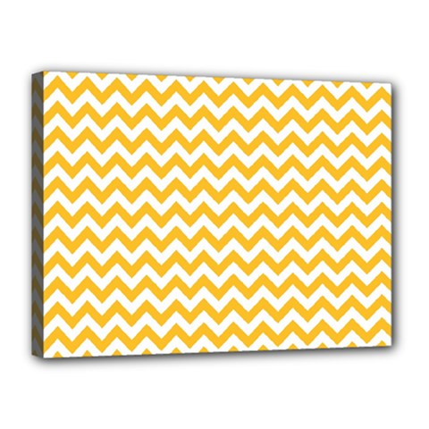 Sunny Yellow And White Zigzag Pattern Canvas 16  X 12  (framed)