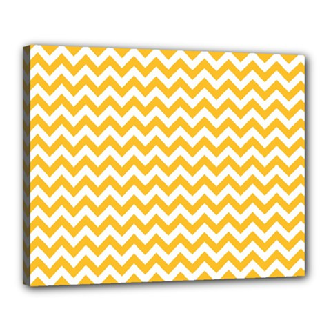 Sunny Yellow And White Zigzag Pattern Canvas 20  x 16  (Framed)