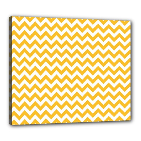 Sunny Yellow And White Zigzag Pattern Canvas 24  x 20  (Framed)