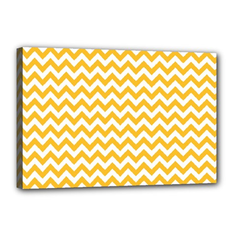 Sunny Yellow And White Zigzag Pattern Canvas 18  X 12  (framed)