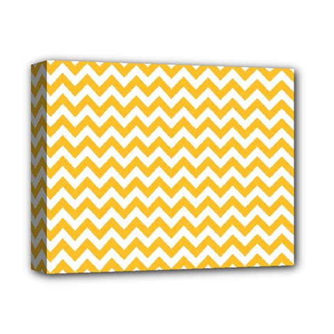 Sunny Yellow And White Zigzag Pattern Deluxe Canvas 14  x 11  (Framed)