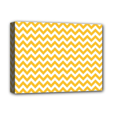 Sunny Yellow And White Zigzag Pattern Deluxe Canvas 16  x 12  (Framed)