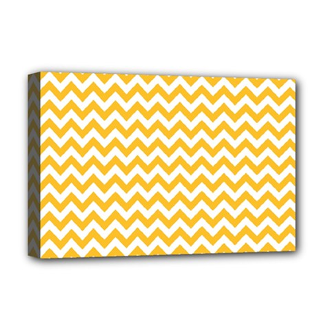 Sunny Yellow And White Zigzag Pattern Deluxe Canvas 18  x 12  (Framed)
