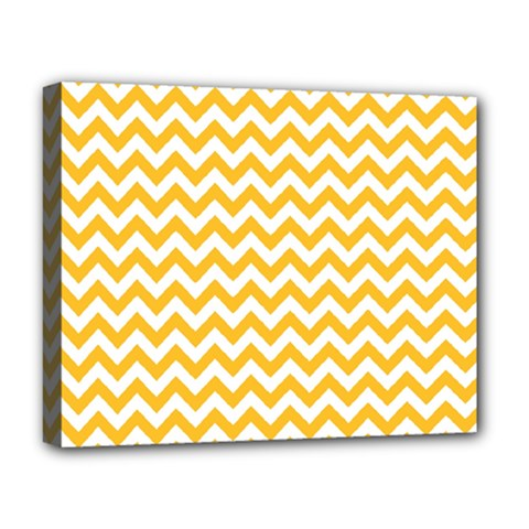 Sunny Yellow And White Zigzag Pattern Deluxe Canvas 20  x 16  (Framed)