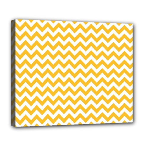 Sunny Yellow And White Zigzag Pattern Deluxe Canvas 24  x 20  (Framed)
