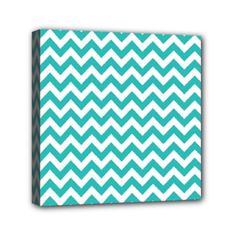 Turquoise And White Zigzag Pattern Mini Canvas 6  x 6  (Framed)