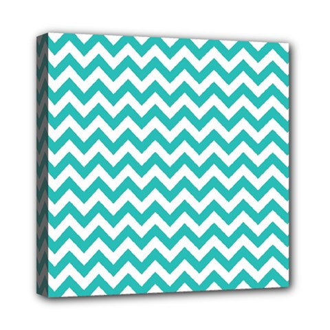 Turquoise And White Zigzag Pattern Mini Canvas 8  x 8  (Framed)