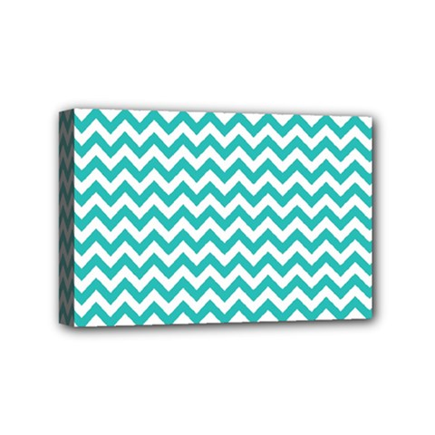 Turquoise And White Zigzag Pattern Mini Canvas 6  x 4  (Framed)