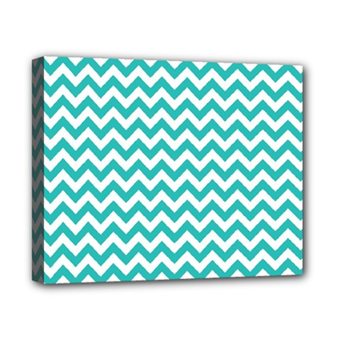 Turquoise And White Zigzag Pattern Canvas 10  X 8  (framed)
