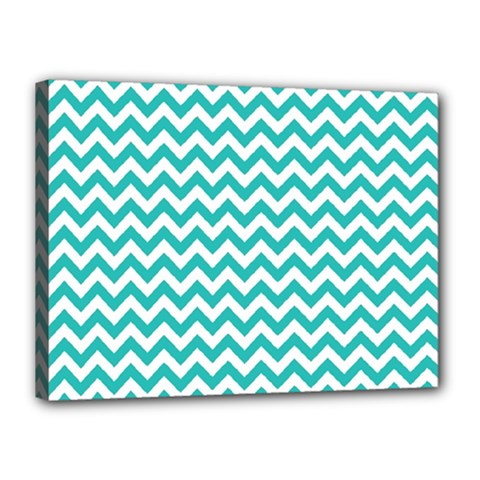 Turquoise And White Zigzag Pattern Canvas 16  x 12  (Framed)