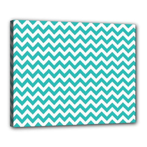 Turquoise And White Zigzag Pattern Canvas 20  x 16  (Framed)