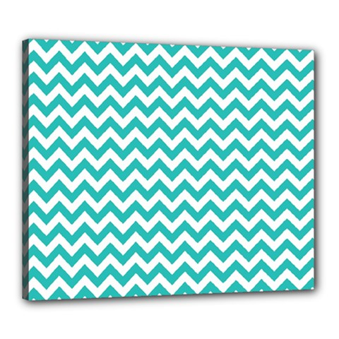 Turquoise And White Zigzag Pattern Canvas 24  x 20  (Framed)