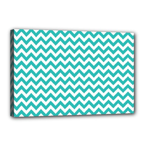 Turquoise And White Zigzag Pattern Canvas 18  X 12  (framed)