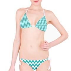 Turquoise And White Zigzag Pattern Bikini