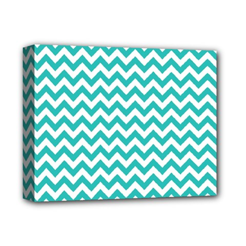 Turquoise And White Zigzag Pattern Deluxe Canvas 14  x 11  (Framed)