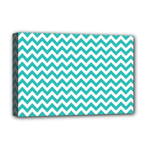 Turquoise And White Zigzag Pattern Deluxe Canvas 18  x 12  (Framed)